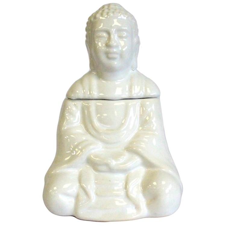 Sittande Buddha vit keramik, Aromalampa