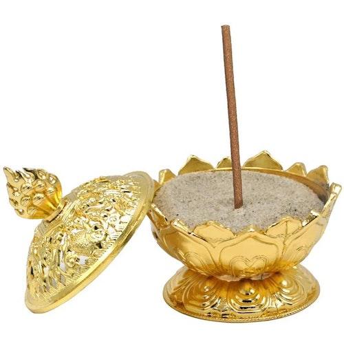 Lotus Rökelsehållare, Guldfärgad