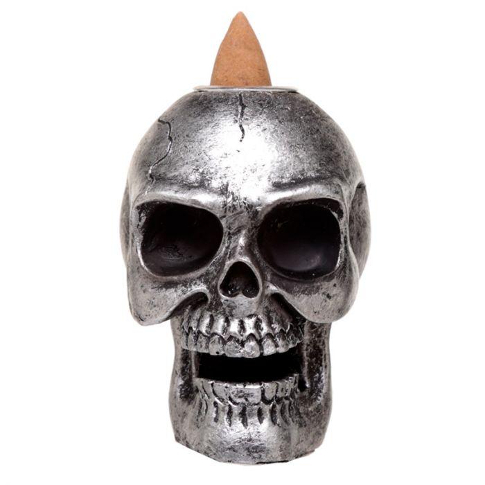 Skull liten Silver, Backflow Rökelsebrännare