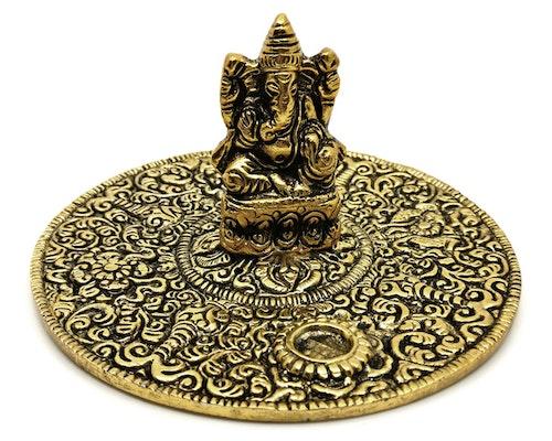 Ganesha guldmetall Rökelsehållare