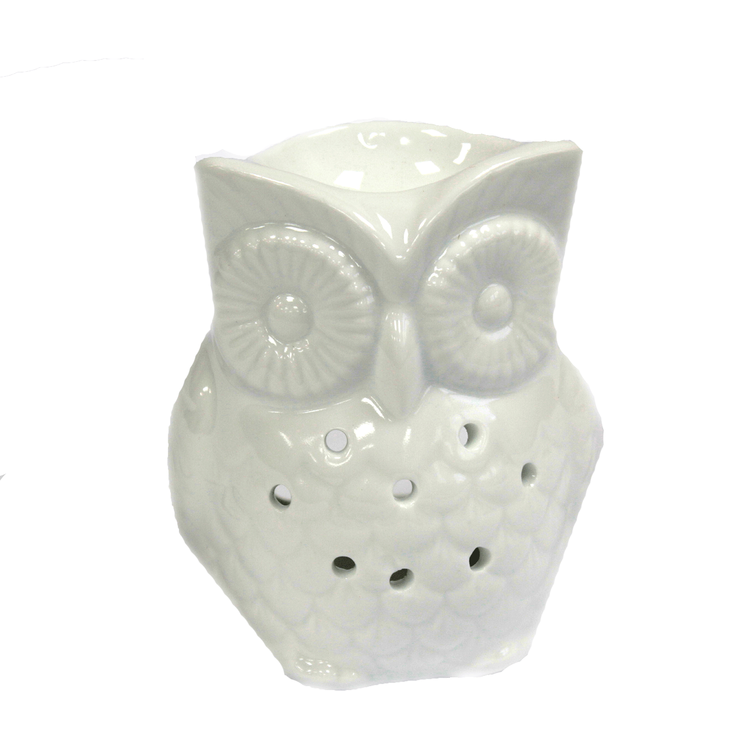 Uggla vit stor, keramik, Aromalampa