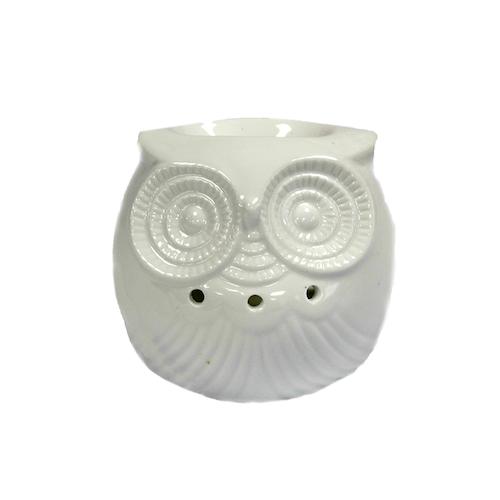 Uggla vit liten, keramik, Aromalampa
