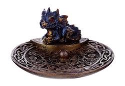 Keltisk Drake Blå Rökelsehållare