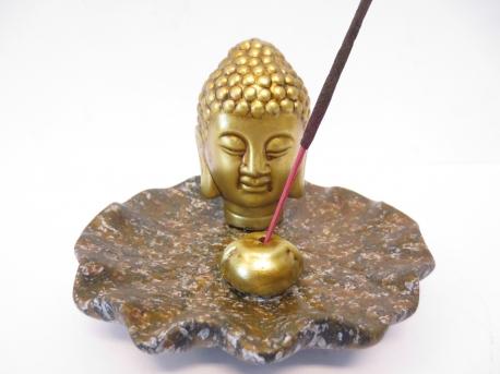 Gyllene Buddhahuvud på brunt fat Rökelsehållare