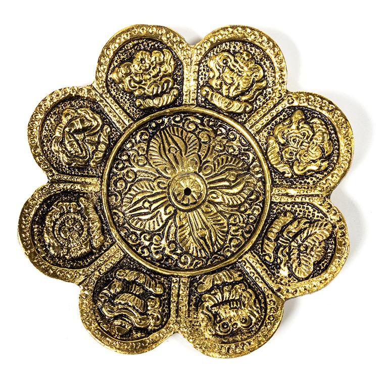 8 buddhistiska auspicious tecken rökelsehållare, gulmetall