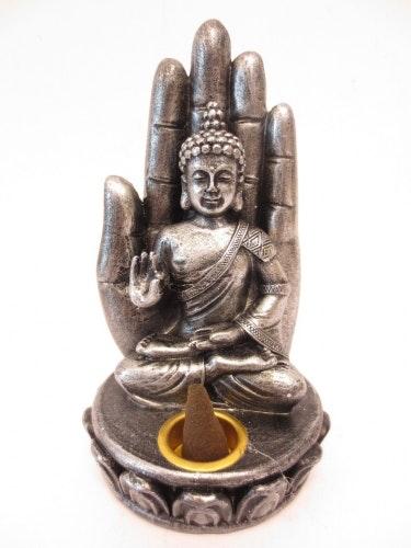 Buddha med hand, M, metall