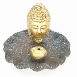 Gyllene Buddhahuvud på brun/blått fat Rökelsehållare
