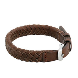 Leather bracelet, clasp, brown