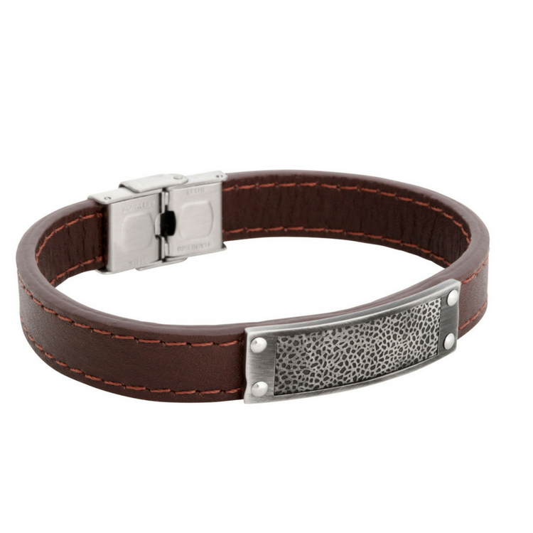 Leather bracelet, pattern, brown