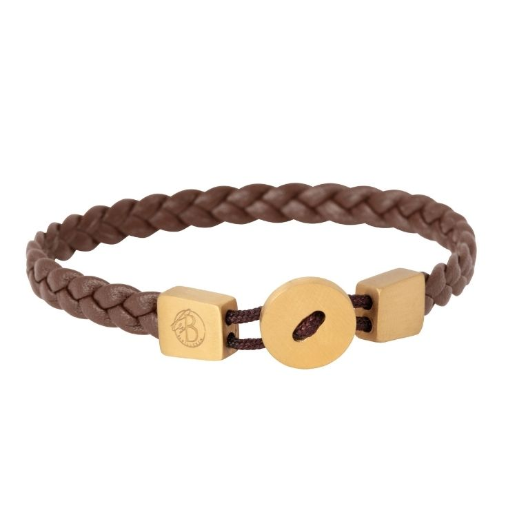 Läderarmband, Knapp, Brun/Guld