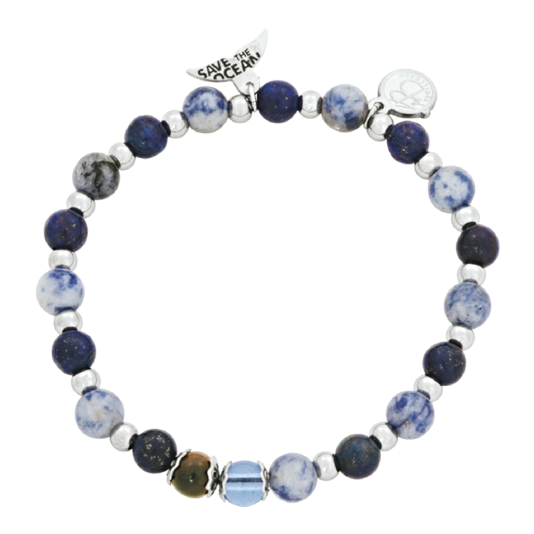Beads bracelet, Save The Ocean, blue