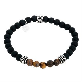 Beadsarmband, svart/brunt