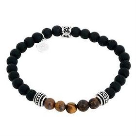 Beadsarmband, svart/brunt, Tigeröga, Onyx