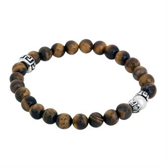 Beads bracelet, brown/silver