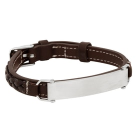 Leather bracelet with steel plate, brown