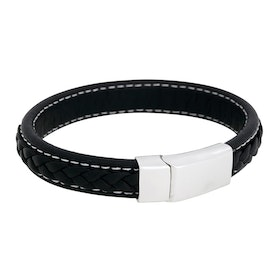 Leather bracelet, braided with  clasp in steel, black