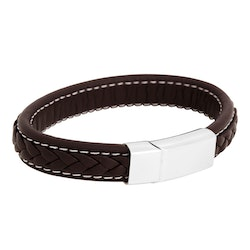 Leather bracelet, braided with  clasp in steel, brown