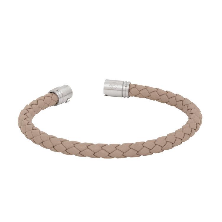 Läderarmband, Flätat med lås i stål, natur