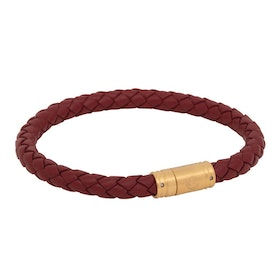 Leather bracelet, braided with clasp in steel, red/gold
