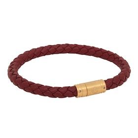 Läderarmband, Flätat med lås i stål, röd/guld