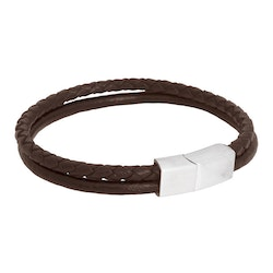Leather bracelet, braided double/steel details, brown/silver