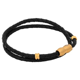 Leather bracelet, braided double/steel details, black/gold