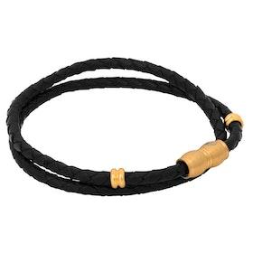 Läderarmband, flätat dubbel/ståldetaljer, svart/guld