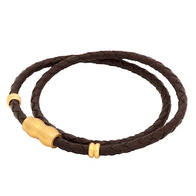 Leather bracelet, braided double/steel details, brown/gold