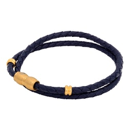 Leather bracelet, braided double/steeldetails, blue/gold