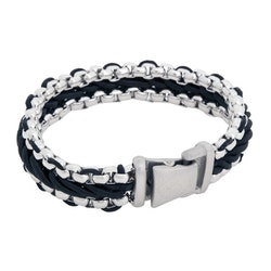 Steel bracelet, braided rope, black