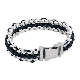 Stålarmband, flätat rep, svart