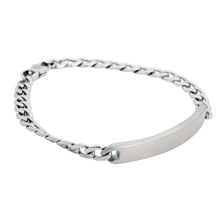 Steel bracelet, engravable plate, silver