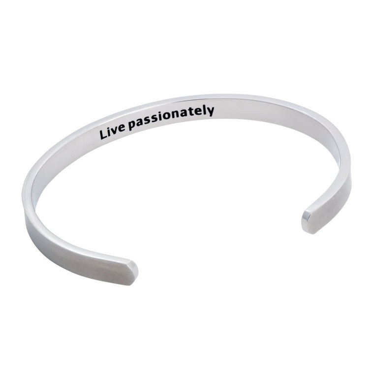 "Steel bracelet, Cuff ""Live Passionately"", silver"