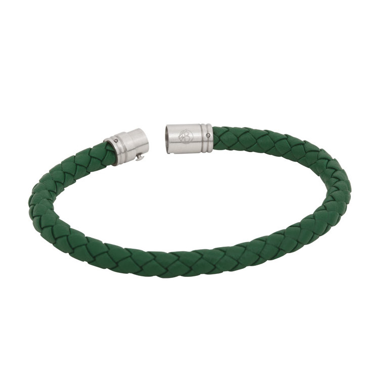 Leather necklace, braided with steel locker, green