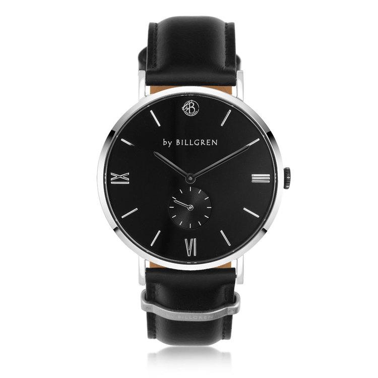 klocka med läder svart