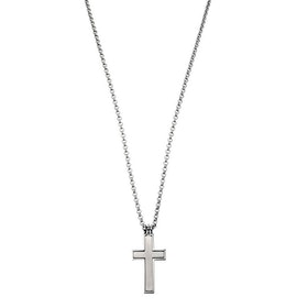 Necklace, crucifix, steel