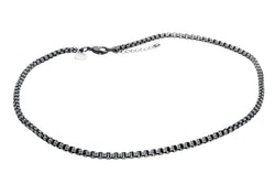 Necklace, chain, dark grey steel