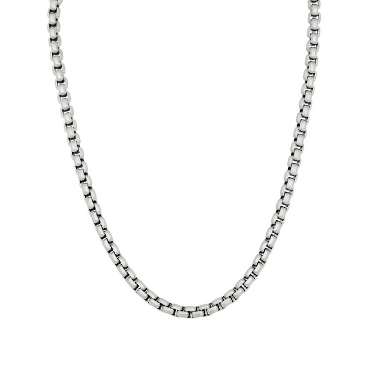 Necklace, chain, steel/silver