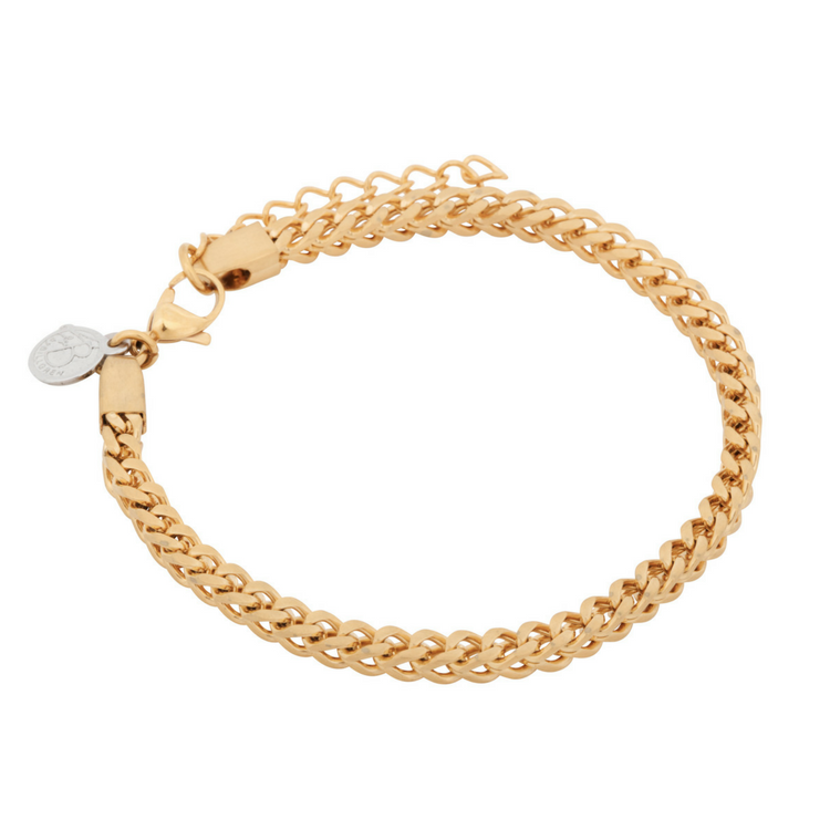 Stainless steel bracelet, link, gold