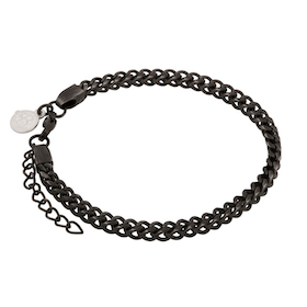 Stainless steel bracelet, link, black
