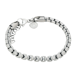 Stainless steel bracelet, link/beads, silver