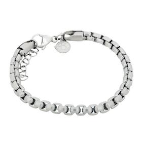 Stålarmband, länk/kulor, silver