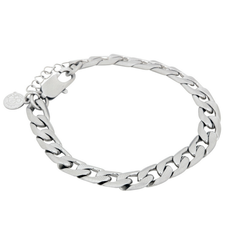 Stainless steel bracelet, classic chain, silver