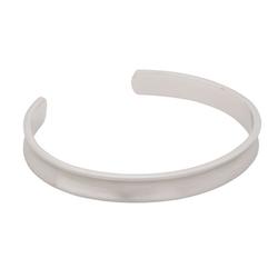 Bracelet, concave  cuff, silver