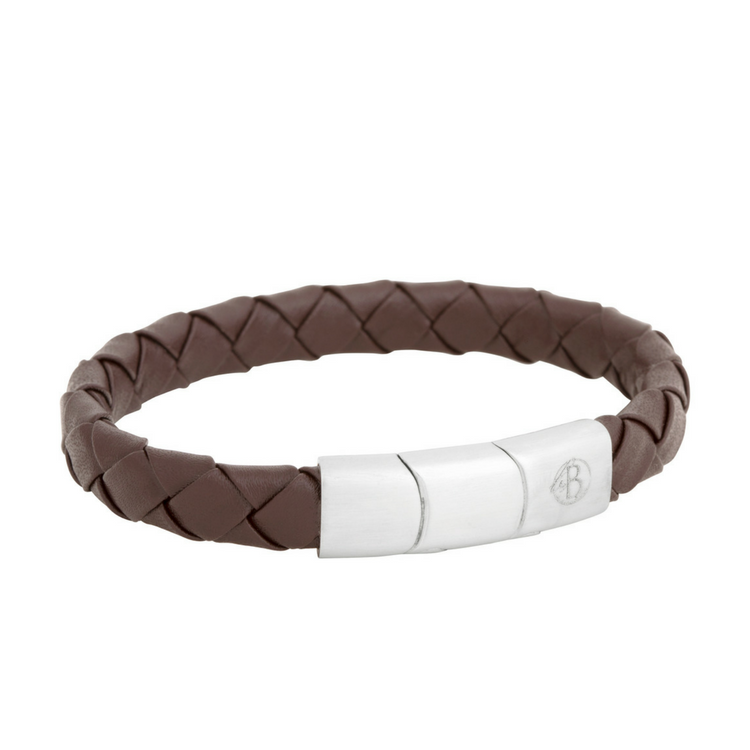 Leather bracelet, braid, brown