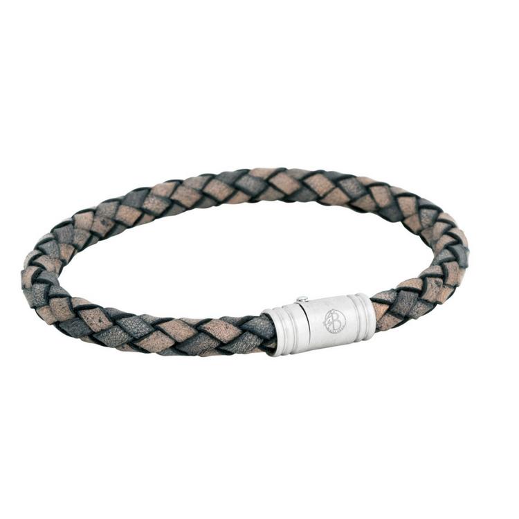 Leather bracelet, worn, grey