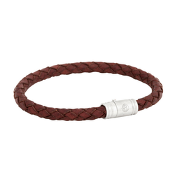 Leather bracelet, worn, brown/red