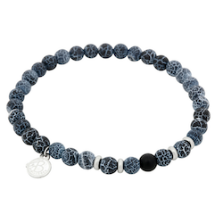 Beads bracelet, Agate + Onyx, blue/black