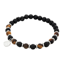 Beads bracelet, Tiger eye + lava stone, brown/black
