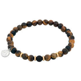 Beads bracelet, Tiger eye + Onyx, brown/black/gold